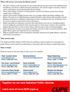 screen shot of Save Saskatoon Libraries flyer